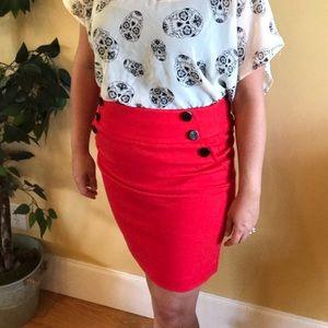 Loft Red Mini Skirt Black Buttons Size 2 Petite
